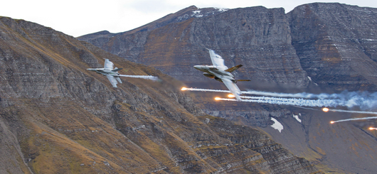 F/A-18 Swiss Air Force fly-pass with flare